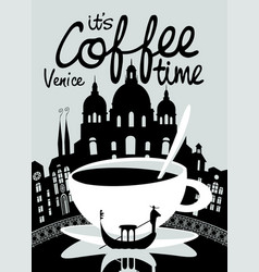 coffee banner on background of venice landscape vector image