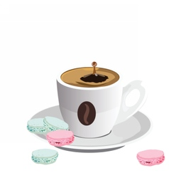 Coffee cup with Macaroons dessert vector image