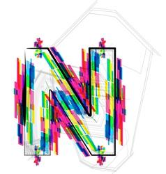 Colorful Font Letter N vector
