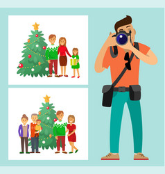Couple family standing by christmas tree photo vector