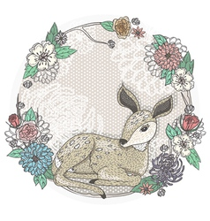 cute badeer and flowers frame vector image