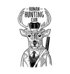Deer hunter hunting club lettering vintage black vector