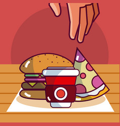 delicious food on woode table vector image