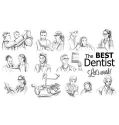 Dentist doctors storyboard medical team concept vector