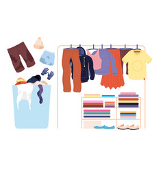 Dirty clothes laundry stack basket apparel pile vector