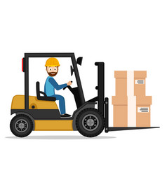 Driver on a forklift carries boxes on a white vector