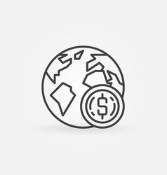 earth with coin icon in thin line style vector image