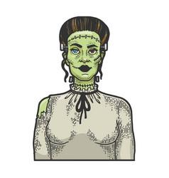 fabulous artificial woman sketch engraving vector image
