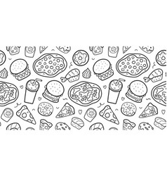 Fast food seamless pattern doodle linear vector
