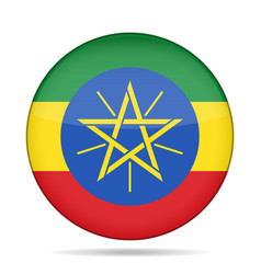 Flag of ethiopia shiny round button vector