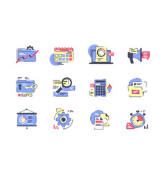 flat business icon set with calendar presentation vector image
