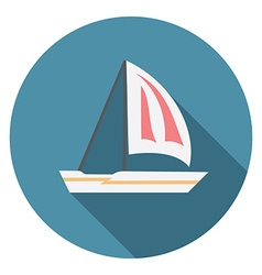 Flat design modern of sailing boat icon with long vector