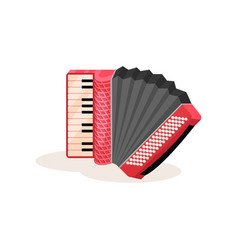 Flat icon of red accordion portable vector
