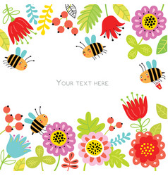floral background with cute bees vector image
