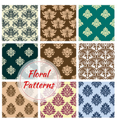floral ornament damask seamless patterns vector image