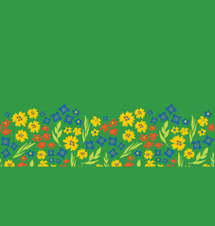 Floral seamless repeat border spring green vector
