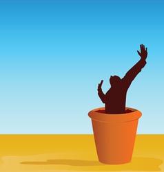 flowerpot with man vector image