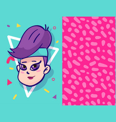 girl character wearing trendy clothes in 80s style vector image