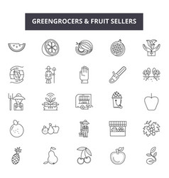 greengrocers and fruits sellers line icons signs vector image