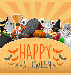 halloween sticker with orange background vector image