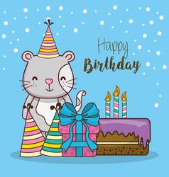 Happy birthday card cartoons vector