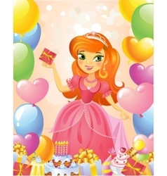 Happy Birthday Princess greeting card vector