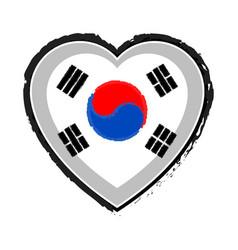 Heart shaped flag of south korea vector