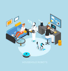 Home robots isometric composition vector