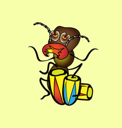 isolated cartoon a hungry termite who plays the vector image