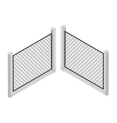 isometric fence isolated on white iron gate fence vector image