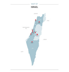 Israel map with red pin vector