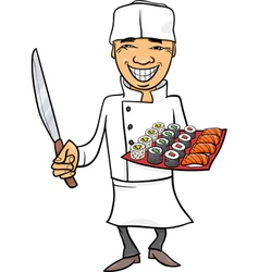 Japan sushi chef cartoon vector
