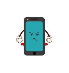 Kawaii smartphone angry character cartoon vector