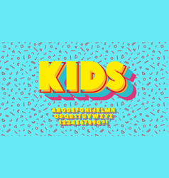 kids font 3d bold colorful style vector image