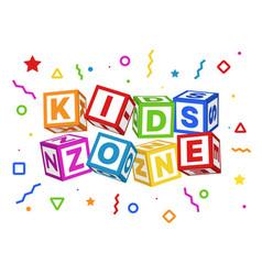 Kids zone blocks color geometric elements around vector