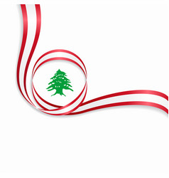 Lebanese wavy flag background vector