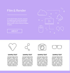 line blog icons landing page template vector image
