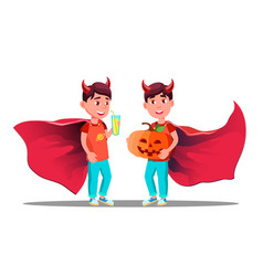 little boy with devil horns cloak and holding vector image