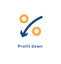 low rate profit cost icon reduction cost decrease vector image
