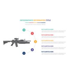 M-16 assault riffle infographic template concept vector