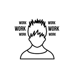 Man and work words icon outline style vector