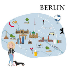 map with landmarks and symbols berlin vector image