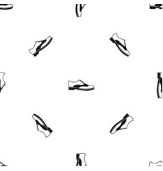 men shoe with lace pattern seamless black vector image