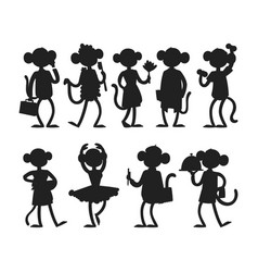 Monkeys rare animal silhouette cartoon vector