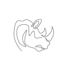 One single line drawing strong rhinoceros head vector
