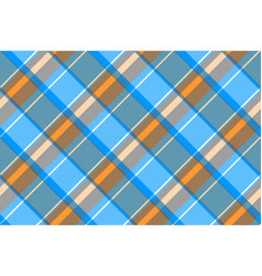 orange blue gray check plaid seamless pattern vector image