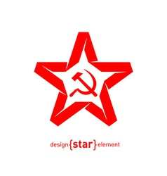 origami red star with socialist symbols on white vector image