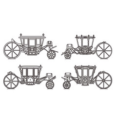 Outline medieval royal carriage icons retro coach vector