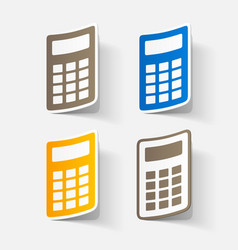 Paper clipped sticker office electronic calculator vector