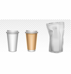 paper cups for tea and coffee foil zip lock bag vector image